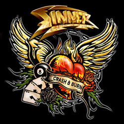 "Sinner - ""Crash & Burn"" CD cover image - Click to read review"