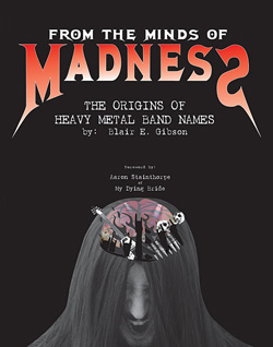 "- ""From the Minds of Madness: Origins of Heavy Metal Names"" Book cover image"