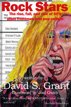 "- ""Rock Stars: The Rise, Fall and Rise of 80's Glam Frontmen Into Pop Culture"" Book cover image"